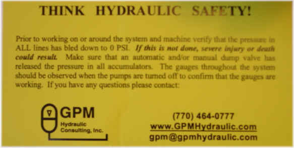 Think Hydraulic Safety! Safety Sticker - 100 Stickers